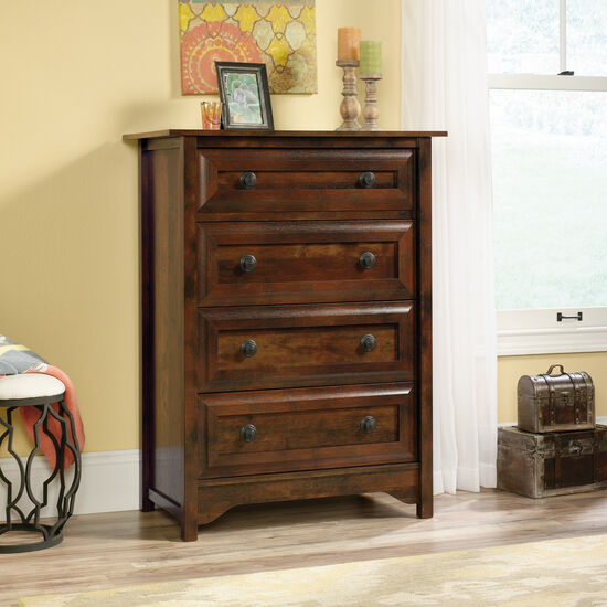"""45.5"""" Contemporary Paneled Four-Drawer Chest in Curado Cherry"""