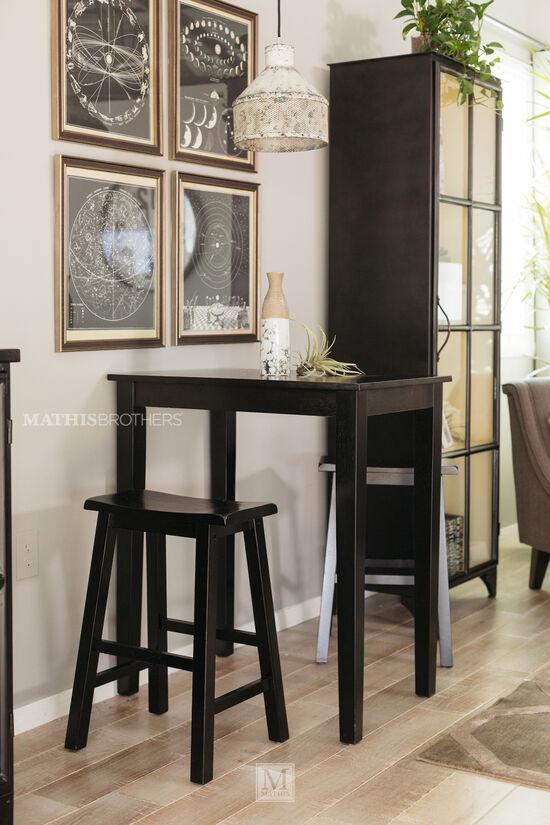 MB Home Black Saddle Three-Piece Dining Set