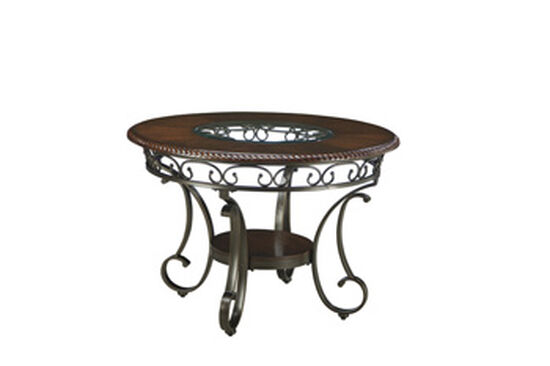 """Traditional 44"""" Scrolled Round Dining Table in Brown Cherry"""