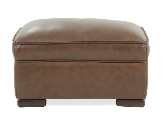 "Traditional 31"" Leather Ottoman in Brown"