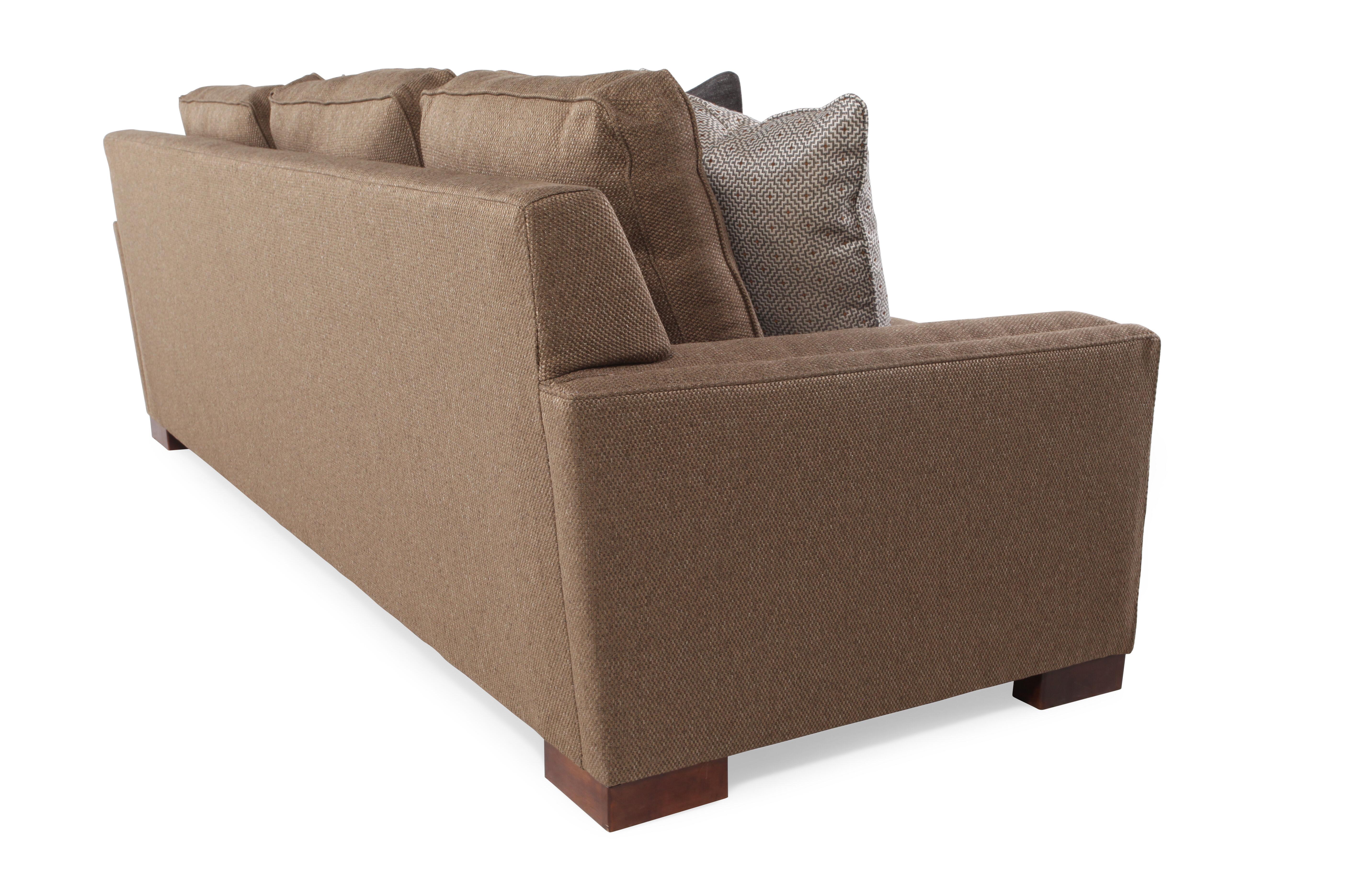 Casual Low Profile 100u0026quot; Sofa In Walnut