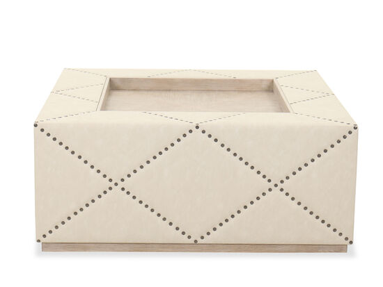 """Traditional 44"""" Square Cocktail Ottoman in Beige"""