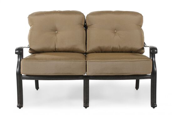 On Tufted Aluminum Loveseat With Cushion In Khaki
