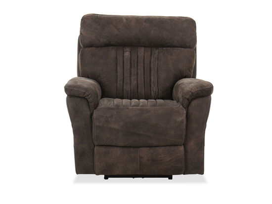 Casual Leather Power Recliner in Brown