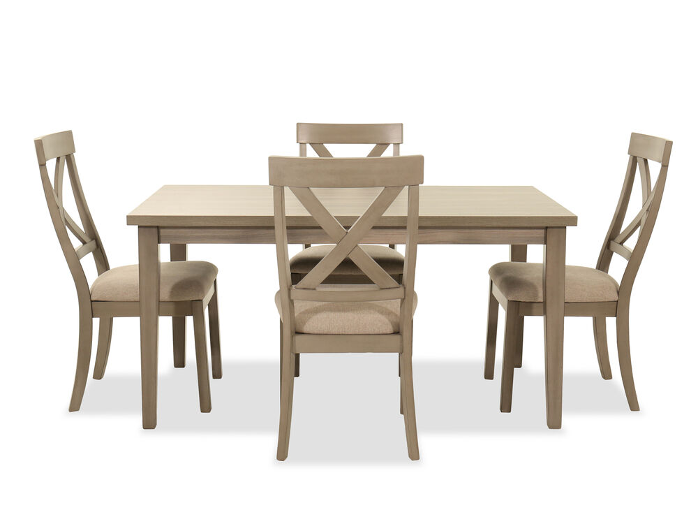 Navy And Gold Dining Room, Five Piece Transitional Dining Set In Brown Mathis Brothers Furniture