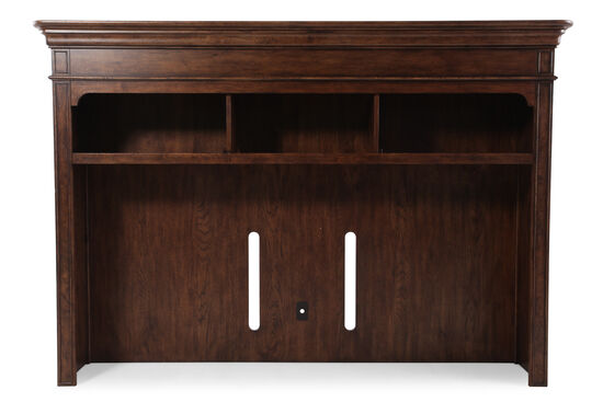 Crown Molded Traditional Console Hutch in Dark Brown