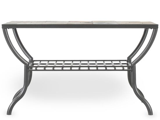 Grilled Shelf Contemporary Sofa Table in Gun Metal