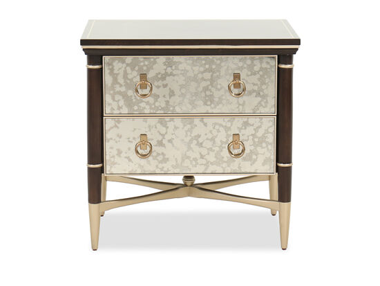 "28"" Contemporary Two-Drawer Nightstand in Bronzed Ebony"