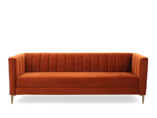 Channel Tufted Velvet Sofa In Orange Crush