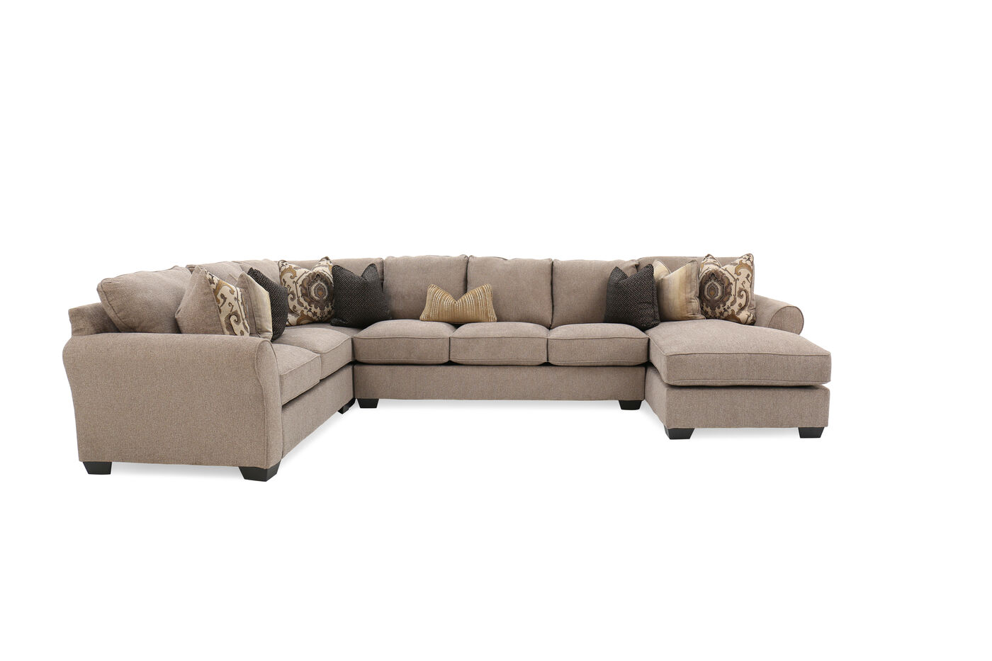 Four piece contemporary 157 sectional in beige mathis for 4 living furniture