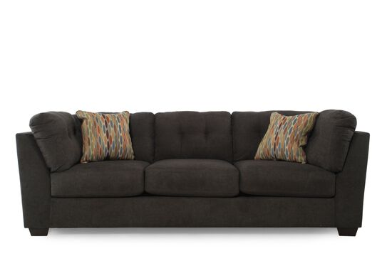 "Tufted 103"" Microfiber Sofa in Chocolate Brown"