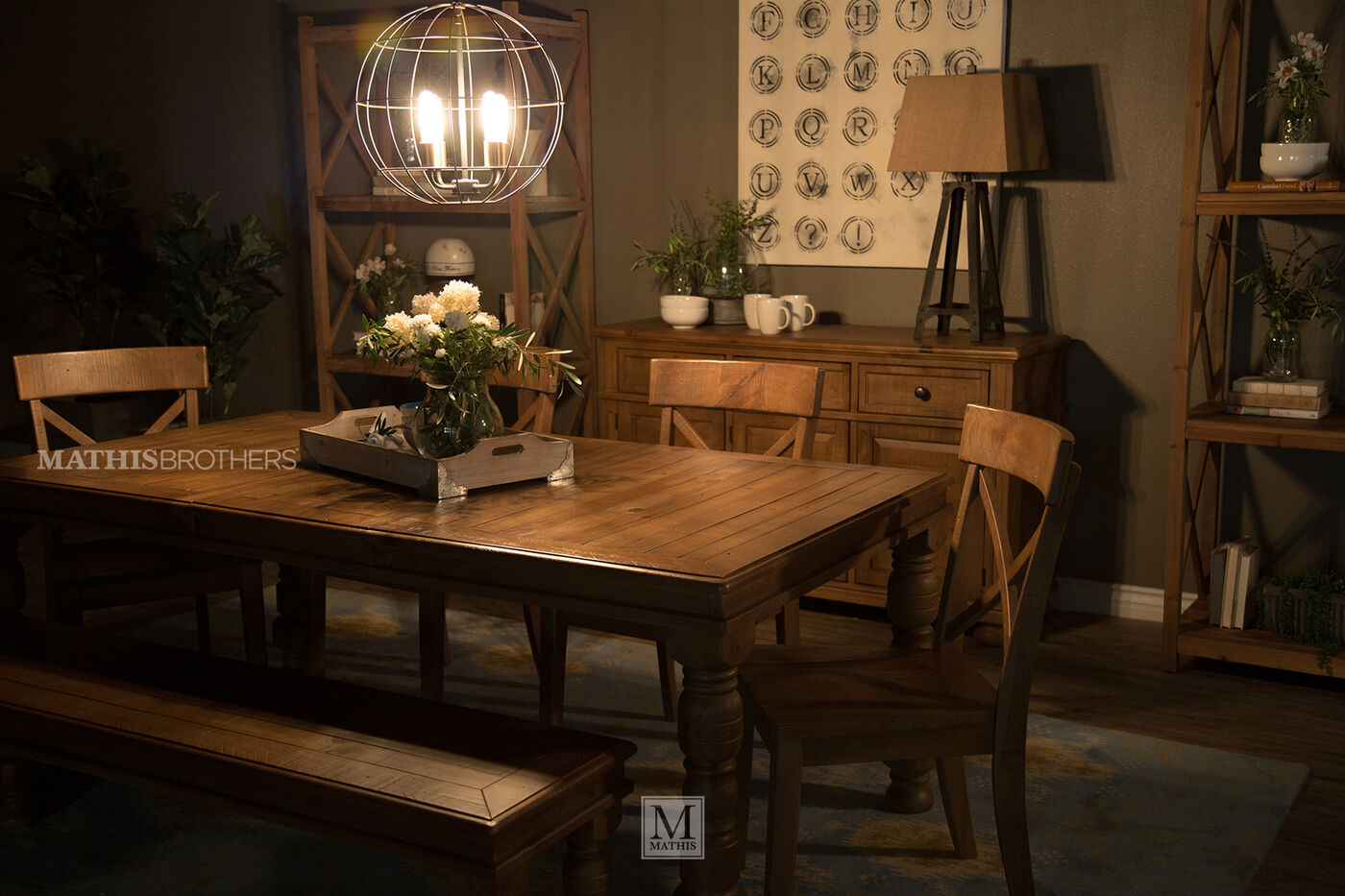 Six piece solid wood casual 78 39 39 dining set in light brown for Casual dining lighting