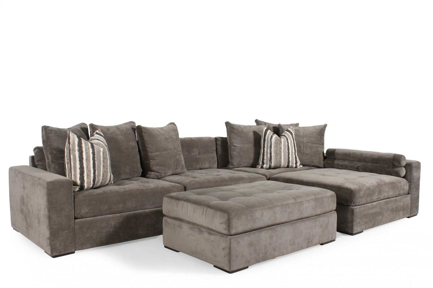 Contemporary Tufted Sectional In Muted Gray Mathis Brothers Furniture