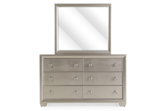 Two-Piece Crocodile Textured Dresser and Mirror in Silver