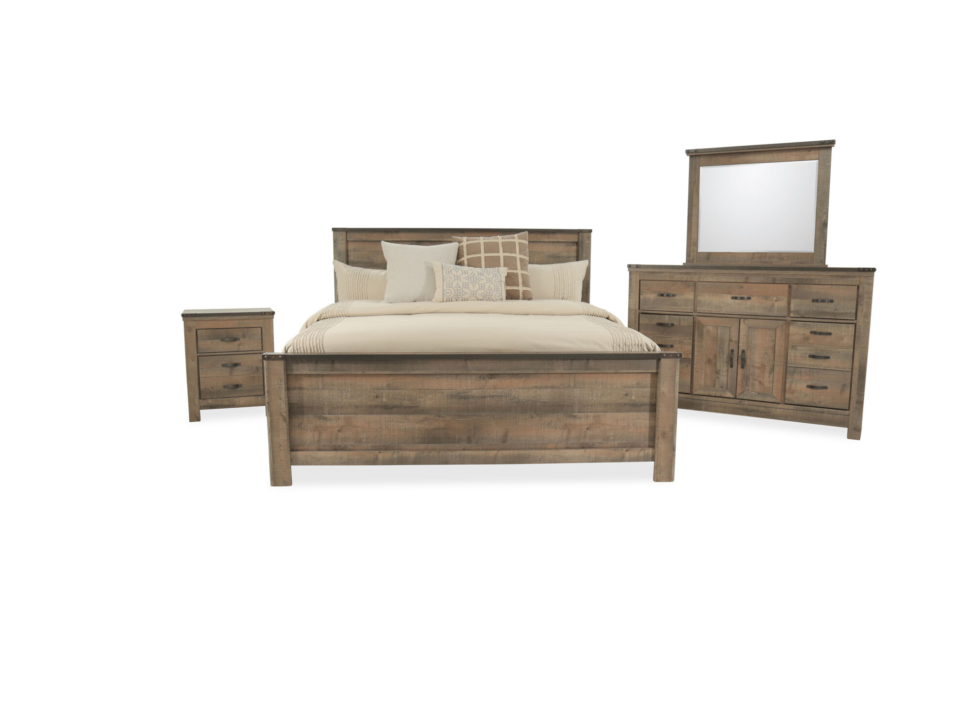 Four piece rustic farmhouse bedroom set in brown mathis brothers furniture