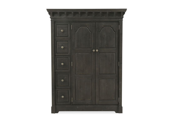"72"" Transitional Five-Drawer Door Chest in Anvil Black"