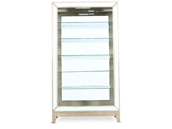 Five-Shelf Traditional Side Door Curio in Platinum