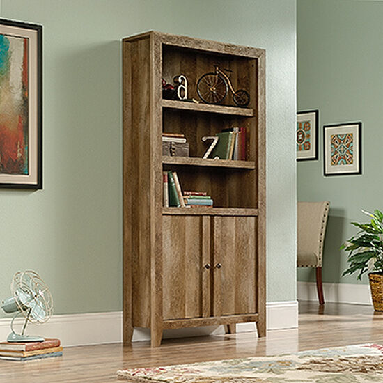 Two-Door Contemporary Library in Craftsman Oak