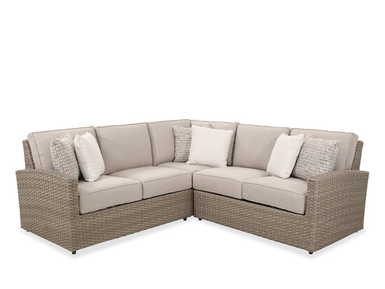 Contemporary 3-Piece Sectional Patio Sofa in Light Grey