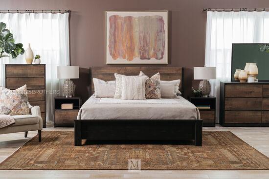 Two-Piece Contemporary Dresser and Mirror in Dark Brown