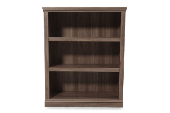 Contemporary Adjustable Shelf Open Bookcase in Medium Brown
