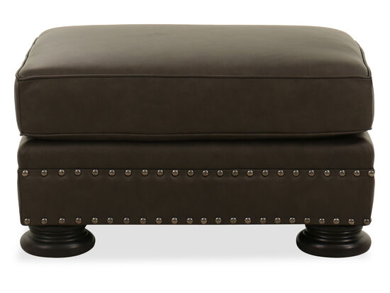 Nailhead-Accented Contemporary 32'' Ottoman in Grey