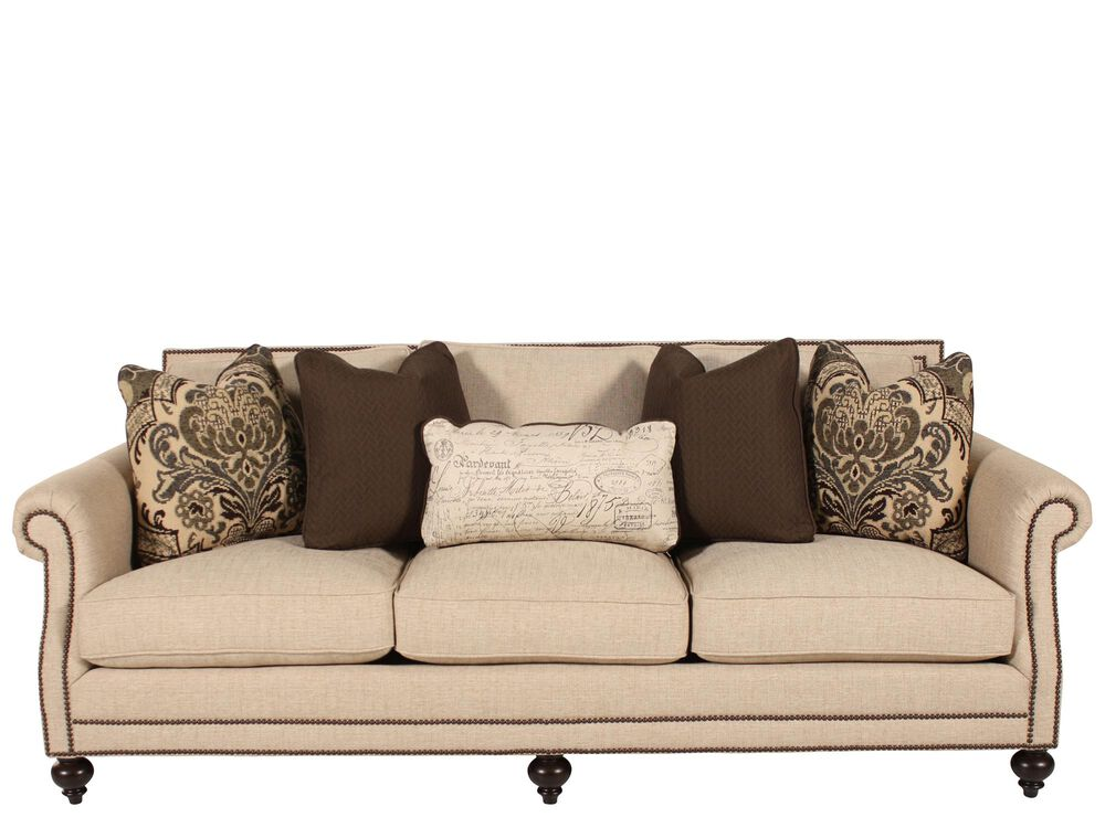 Stupendous High Profile Nailhead Accented 92 5 Sofa In Cream Mathis Home Interior And Landscaping Eliaenasavecom