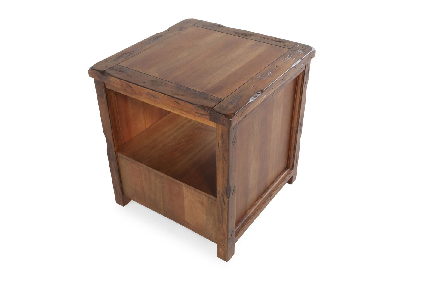 Square Contemporary End Table In Chestnut Brown Mathis Brothers Furniture