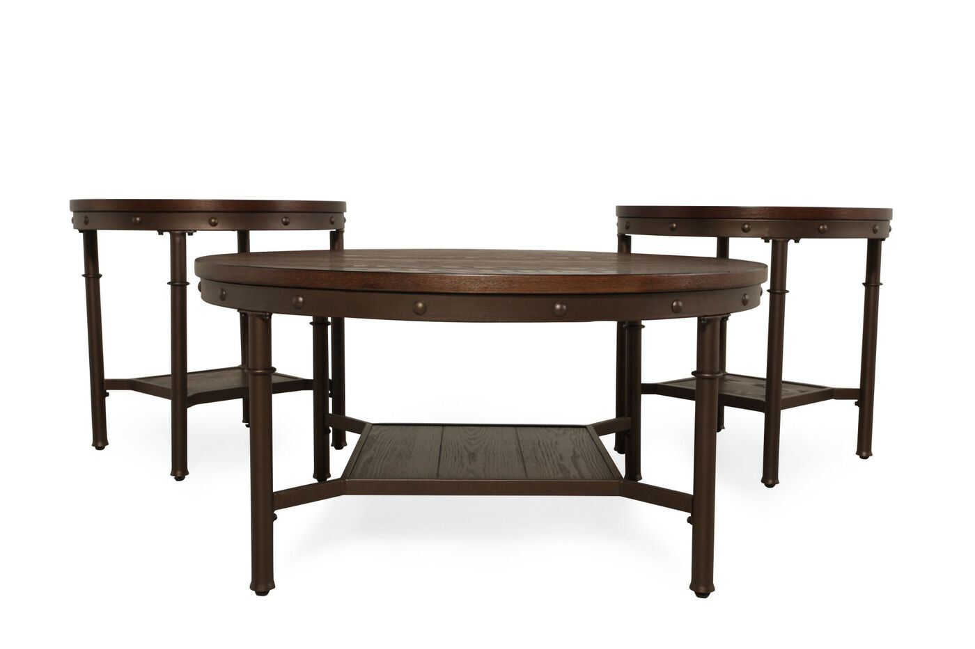 Three-Piece Rivet Accented Casual Coffee Table Set in Brown | Mathis ...