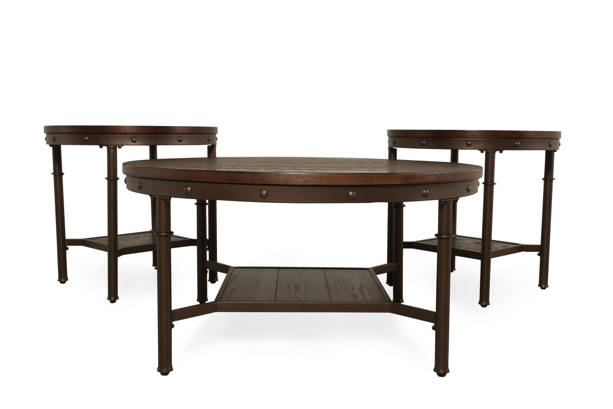 Three Piece Rivet Accented Casual Coffee Table Set In Brown
