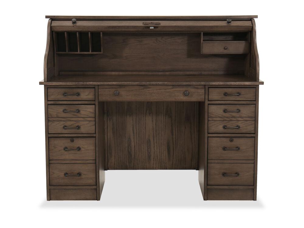 """54"""" Transitional Roll-Top Desk in Industrial Oak"""