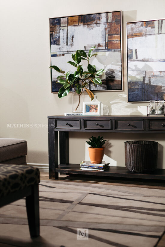 Four-Drawer Casual Sofa Table in Weathered Brown