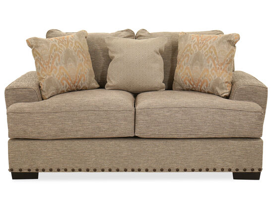 Nailhead-Accented Casual Loveseat in Dark Brown