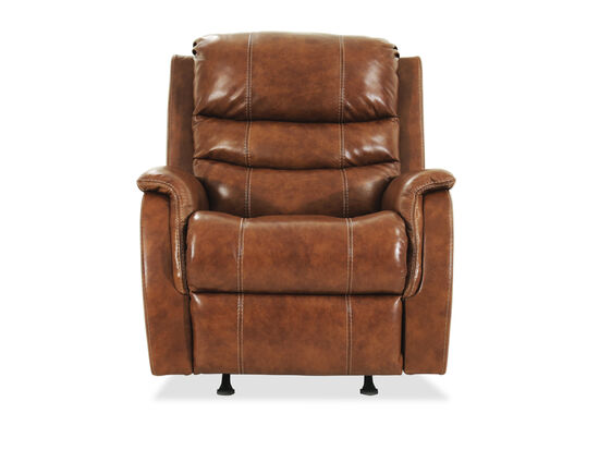 "Transitional 36"" Power Recliner with Adjustable Headrest in Nutmeg Brown"