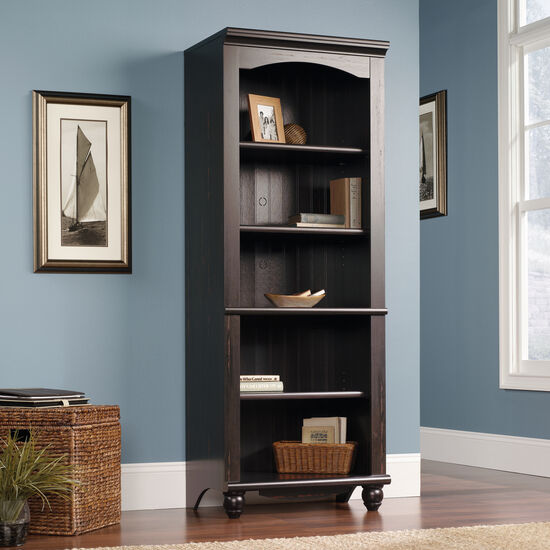 Transitional Adjustable Shelf Open Library in Dark Brown