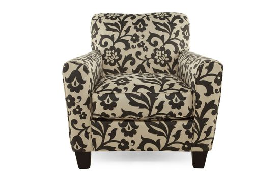 """Floral Printed Contemporary 35"""" Accent Chair in Cream"""