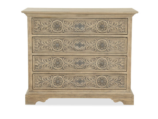 "32"" Traditional Leaf-Carved Bachelor's Chest in Light Brown"