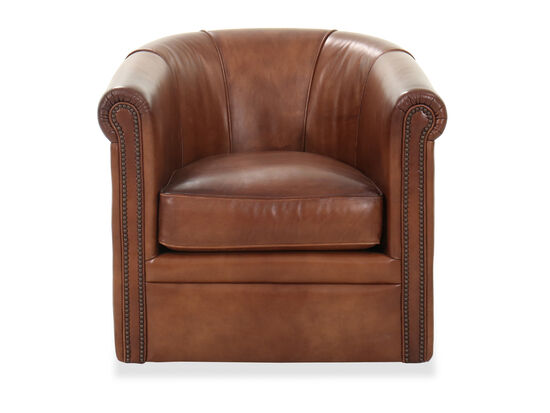 "32"" Leather Nailhead Accent Swivel Club Chair in Brown"