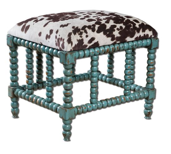 "Cow Hide Print 22"" Accent Bench in Aqua Blue"
