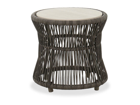 Contemporary Round Patio End Table in Charcoal
