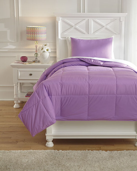 Two-Piece Casual Plaid Twin Comforter Set in Lavender