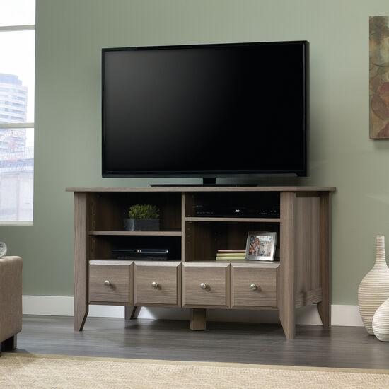 Open Shelf Contemporary Panel TV Stand in Diamond Ash