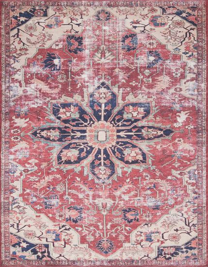 "Traditional 2'-3""x3'-9"" Rug in Rust/Ivory"