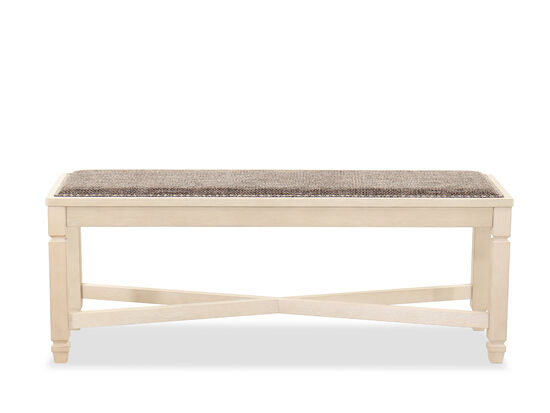Contemporary Large Dining Bench in Antique White