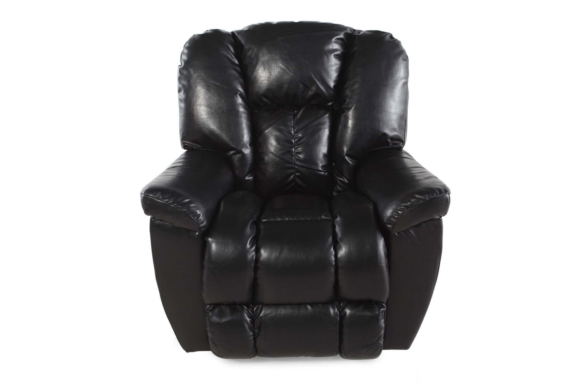 Pillow Top Arm Leather Recliner In Black