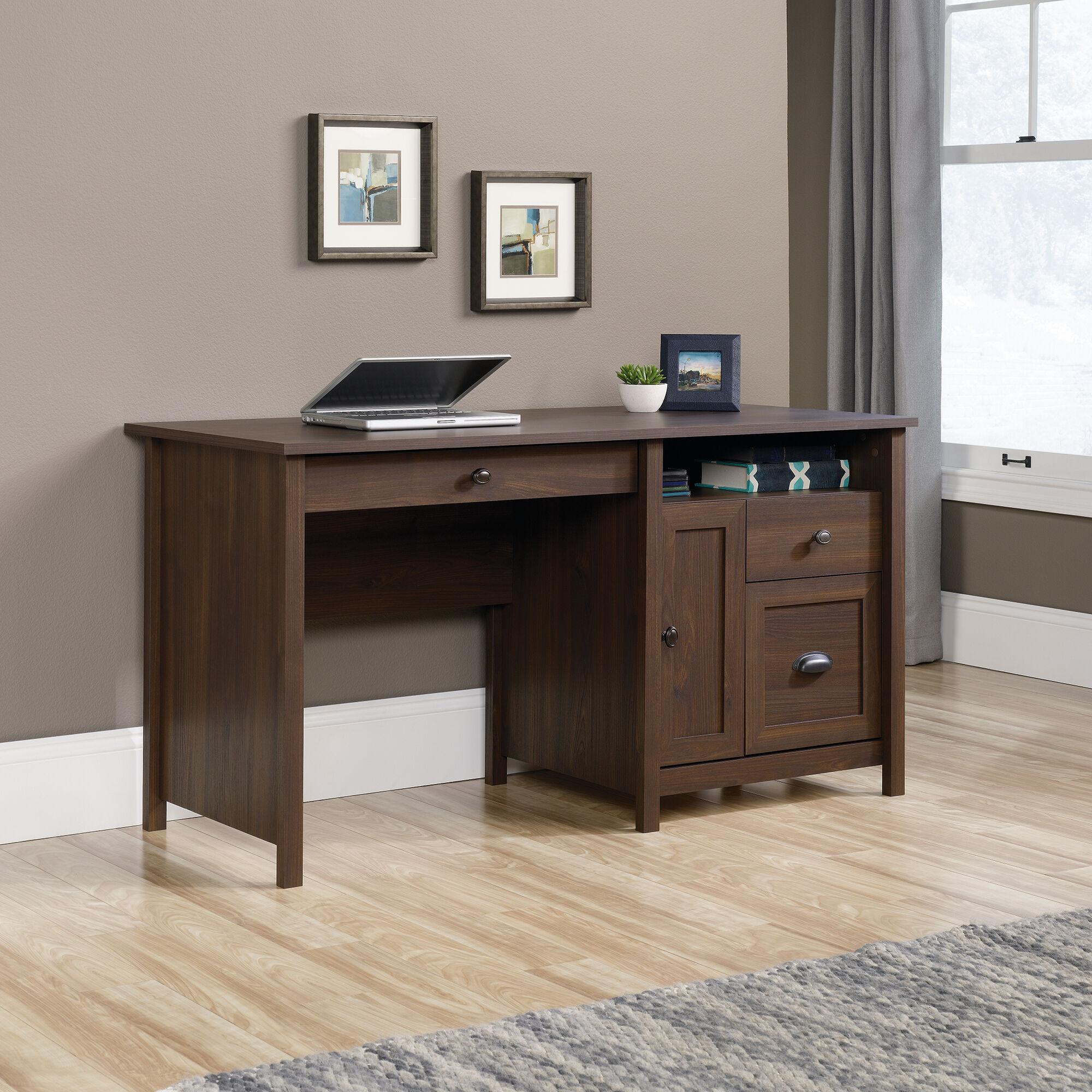"59"" Traditional Three-Drawer Computer Desk In Rum Walnut"