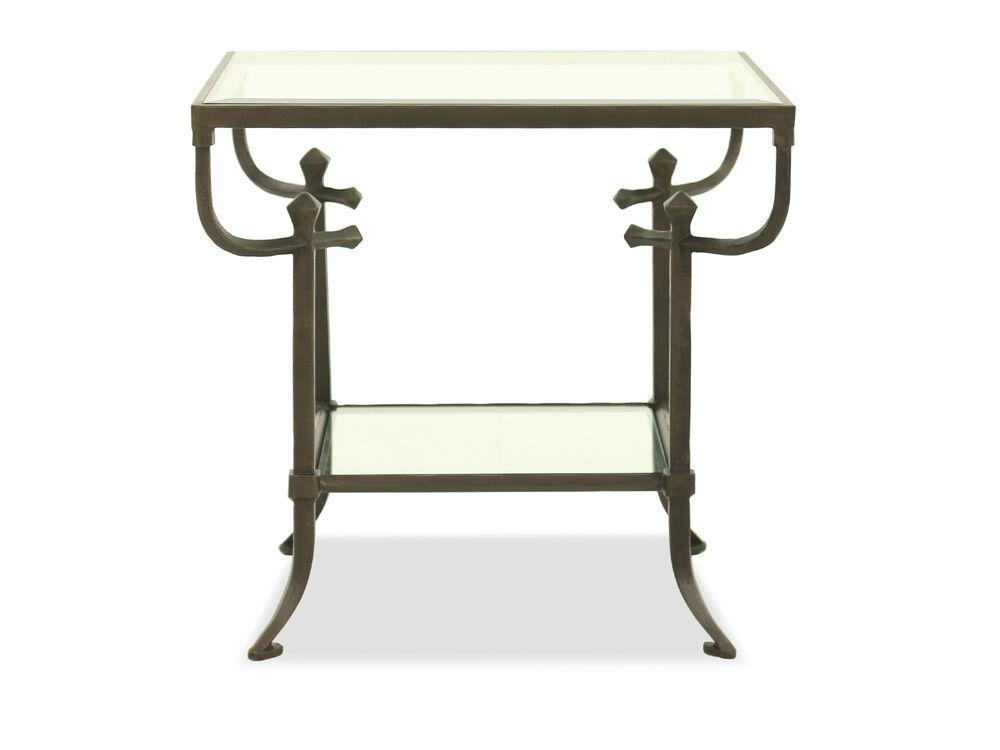 Curved-Leg Mid-Century Modern End Tablein Bronze