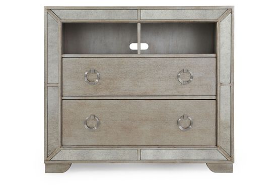 "42"" Antique Mirror-Accented Contemporary Media Chest in Gray"