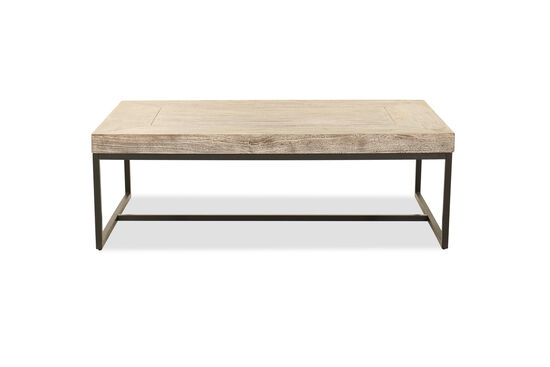 Solid Mango Wood Rectangular Coffee Table in Gray