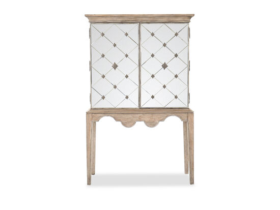 "70"" Traditional Two-Door Bar Cabinet in Medium Wood"